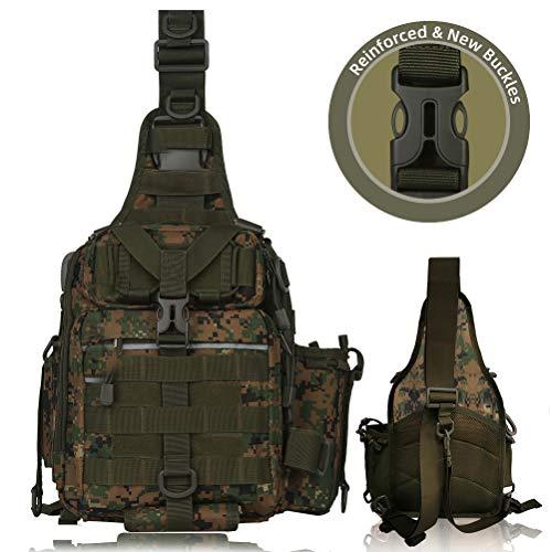 BLISSWILL Angelrucksack Outdoor Tackle Bag Große Angeltasche Wasserabweisend Angelrucksack mit Rutenhalter Schulterrucksack, Camouflage