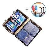 Koffer-Organizer Wasserdichte Kleidertasche Packwürfel 6-teilig mit 2 Kofferanhänger Packing Cubes, Packtasche für Wäsche Schuhe(Geometrie)