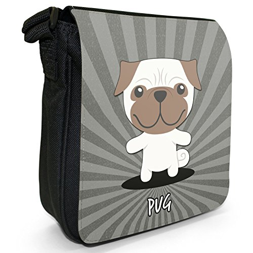 Asian Cartoon cani piccola borsa a tracolla tela nera, misura piccola Chinese Pug, Mops, Carlin