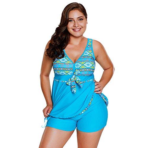 Damen Badeanzug mit Röckchen Bauchweg Einteiliger Badekleid Tribal Print Accent Swimdress Short Set (Tribal Print Badeanzug)
