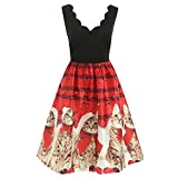 VEMOW Damen Elegantes Cocktailkleid Abendkleid Damen Mode Sleeveless Christmas Cats Musical Notes Print Beiläufig Täglich Vintage Flare Dress(Rot, EU-40/CN-L)