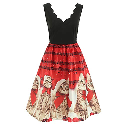VEMOW Damen Elegantes Cocktailkleid Abendkleid Damen Mode Sleeveless Christmas Cats Musical Notes Print Beiläufig Täglich Vintage Flare Dress(Rot, ()