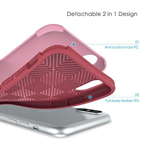 iPhone X Hülle, SHIELDON Doppelschichte dünne Schutzhülle iPhone 10 (5,8 Zoll), Weiche TPU Schutzhülle mit harter PC. Anti-Kratzer Hülle für iPhone X/10 Stoßfeste Case, [Plateau Series] Rosa Rosa