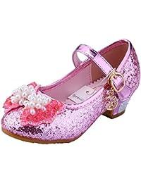 Tyidalin Ballerine Chaussures à Talon à Déguisement Princesse Nœud Papillon  Paillettes pour Enfant Fille ... 415709f67e6c