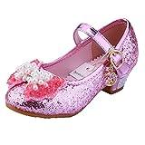 Tyidalin Ballerine Chaussures à talon à Déguisement Princesse Nœud Papillon Paillettes pour Enfant Fille 3 à 12 ans Rose 26