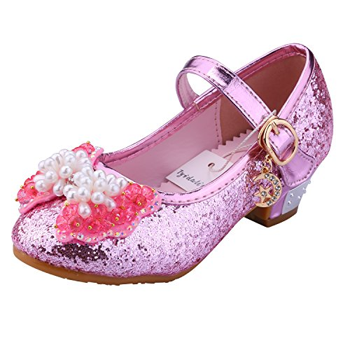 Tyidalin Niña Bailarina Zapatos de Tacón Disfraz de Princesa niña Princesa del Otoño de las Lentejuelas de Prinavera para 3 a 12 Años Rosa 32