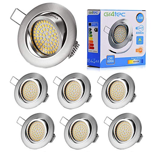 Gr4tec 3.5W Foco Empotrable LED Techo Downlight Spot Ultra Delgado Blanco Neutro...