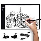 UKON A4 LED Tavoletta Luminosa per Disegno,Ultra-Sottile Light Board Tavolette Disegno Tracing Pad per Artista,Cavo di Alimentazione USB Dimmable Light Box per Drawing Sketching (A4 Vecchio)