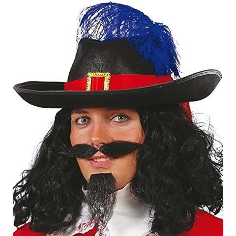 Da moschettiere con piuma, colore: nero, Captain-Costume per travestimento da