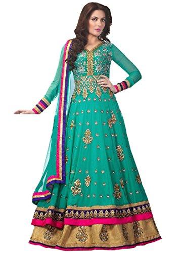 Clothfab Women\'s Faux Georgette Anarkali Salwar Suit Set (Suit-3004-New_Green)