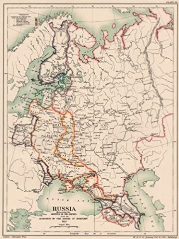 ROMANOV RUSSIA. Imperial growth from accession in 1613 - 1902 - old antique vintage map - printed maps of