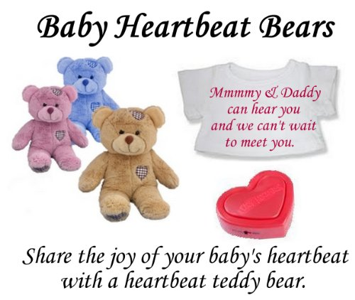 Baby Heartbeat Personalised Teddy Bears - 3d 4d Doppler Scan Pregnancy Bear (Pink Bear)