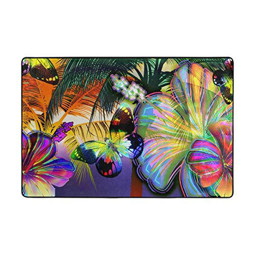 LIANCHENYI Mosaic Butterflies And Abstract Rainbow Flowers Non-slip Doormat Area Rug Carpet Floor Mats Door Mat Indoor Outdoor Bathroom 72 x 48 in