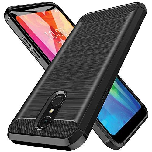 L&K LK Hülle für LG Q7, Ultra Schlank Dünn TPU Gel Gummi Weiche Haut Silikon Anti-Kratzer Schutzhülle Abdeckung Case Cover für LG Q7 (Schwarz) Gummi-gel Cover