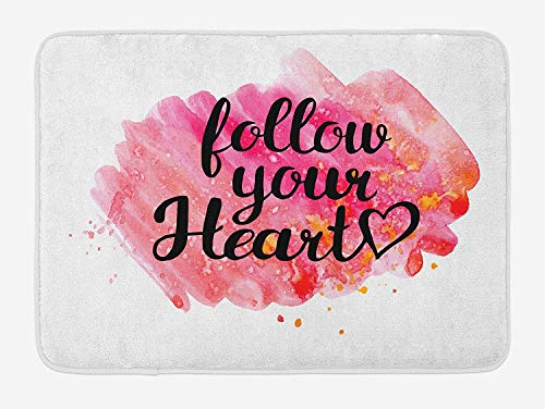 Quote Bath Mat, Typography Phrase Follow Your Heart on Watercolor Effect Background, Plush Bathroom Decor Mat with Non Slip Backing, 23.6 W X 15.7 W Inches, Black Hot Pink and Coral
