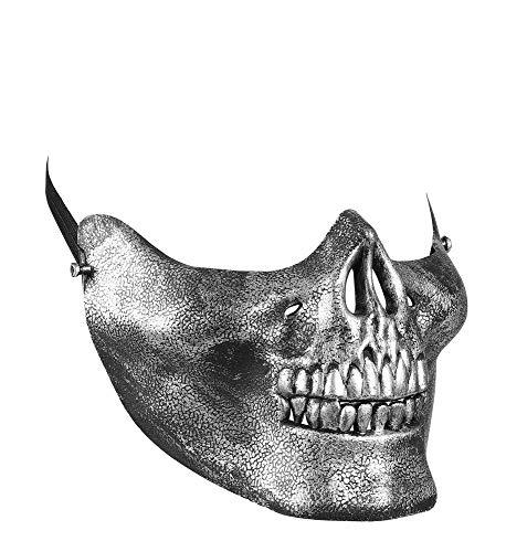 shoperama Totenkopf Halbmaske Silber Skull Schädel Skelett Geist Gevatter Tod Halloween Kostüm-Zubehör Maske