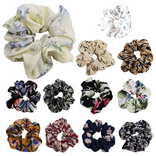 Tclothing Scrunchie Hair Pack of 12 Hair Bobbles Elastic Rubber Hair Band for Girls Women Colourful Soft Knirschig Hair Swing Elastic Hair Band Headband 12 Style Floral Swing Set