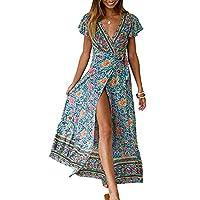 ZESICA Women's Bohemian Floral Printed Wrap V Neck Short Sleeve Split Beach Party Maxi Dress Green