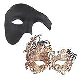 Thmyo 2 Stücke Paar Gorgeous Masquerade Masken, Half Face Venezianische Partei Kostüme Maske (Rose Gold + Schwarz)