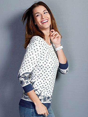 Damen Shirt mit modischem Paisleymuster by Laura Kent Weiß/Marine