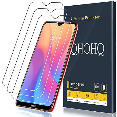 Vidro temperado QHOHQ para Xiaomi Redmi 8A, Xiaomi Redmi 8, [Peças 3] [Garantia vitalícia] [Dureza 9H] Película protetora ultrafina de alta definição