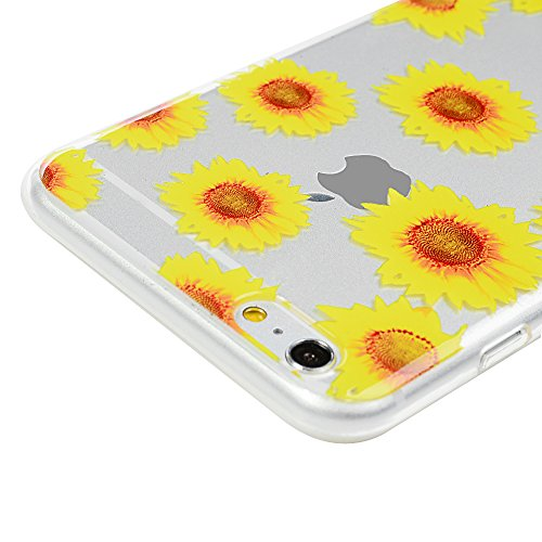 iPhone 6 plus/6s plus Hülle Badalink Gemalt TPU Case Cover Ultraslim Handyhülle Schutzhülle Silikon Bumper Schutz Tasche Schale Transparent Antikratz Backcover, Campanula Sonnenblume