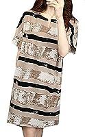 H&E Women's Linen Short Sleeve Crewneck Hit-Colors Loose Dress Small Khaki