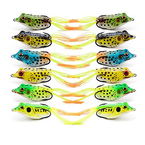 Supertrip Top-Wasser Wobbler Gummifische Frosch-Köder Weiche Gummifrosch Hohlkörper Frosch Kunstköder Color 12pcs