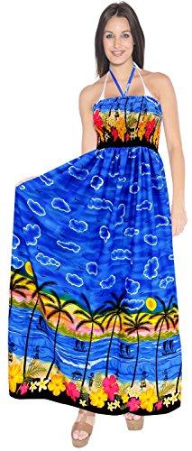 La Leela Rohr nach oben Rock Frauenbadebekleidung Halter lang Badeanzug Abend Maxi-Kleid vertuschen Königsblau