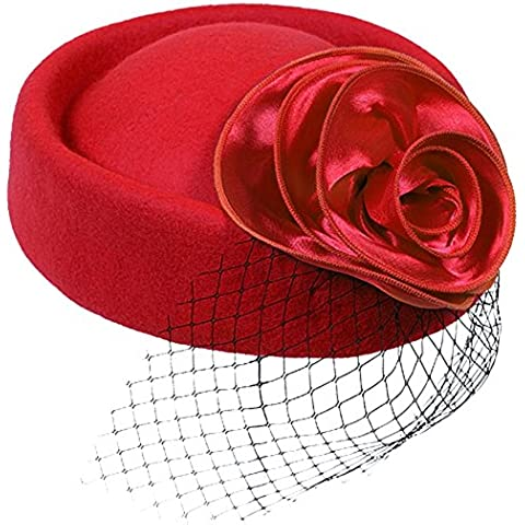 Cappello Donna Pillbox Partito di Lana Sposa Bombetta della Decorazione dei Capelli Ornamento