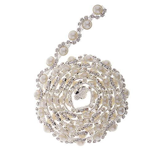 F Fityle Perlen Strass Applique Hochzeit Trim, Strass Perlen Braut Schärpe Rhinestones Dekoration Handwerk DIY