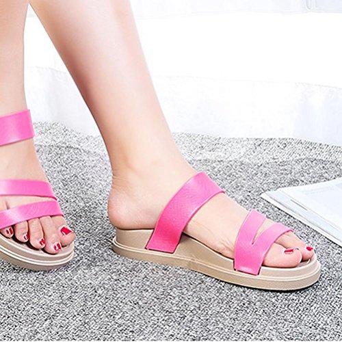 Sandali donna scarpe spesse scarpe antisdrucciolevoli scarpe da spiaggia scarpe cunei roses red