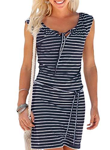 Alieyaes Damen Casual Ärmellos Strandkleid Sommerkleid Knielang Sportliches Streifenkleid Marineblau L -