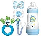 MAM Starter Set - Air Schnuller 0-6 Monate, Anti Colic Flasche 260ml , Fashion Clip & Cooler New für Jungen