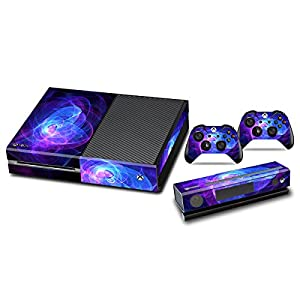 Stickers for Xbox One Console Skins Xbox One Games Accessories Sticker Decals with Two Free Wireless Controller Decals – Blue Purple Lines