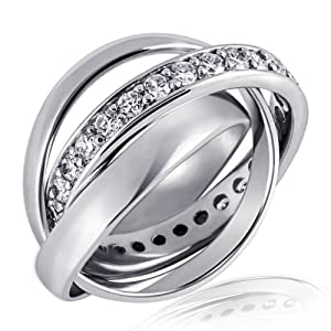 Goldmaid Damen-Ring 925 Sterlingsilber 3 in 1 Kanalfassung