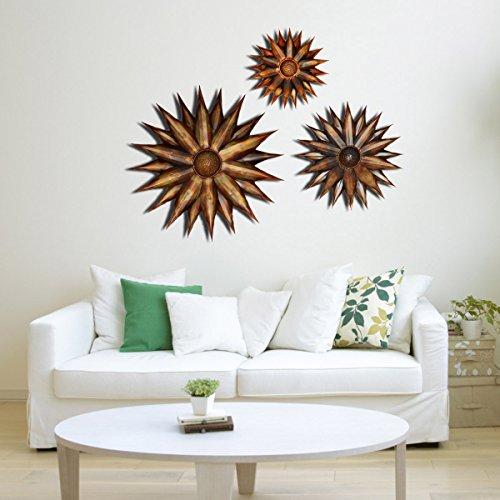 Craftterª Setof 3 Flowers Antique Copper Finish Decorative Wall Art Hanging Sculpture