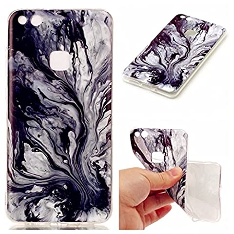 Huawei P10 Lite Silicone Gel Case, JIEJIEWYD Shock Proof Soft Durable Scratch Resistant TPU Protective Case Cover Skin Shell Marble Design
