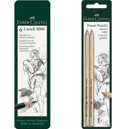 Faber-Castell 119063 Bleistift Castell 9000, 6-er Etui & Set Radierstift PERFECTION 7056, für Bleistift und Farbstift