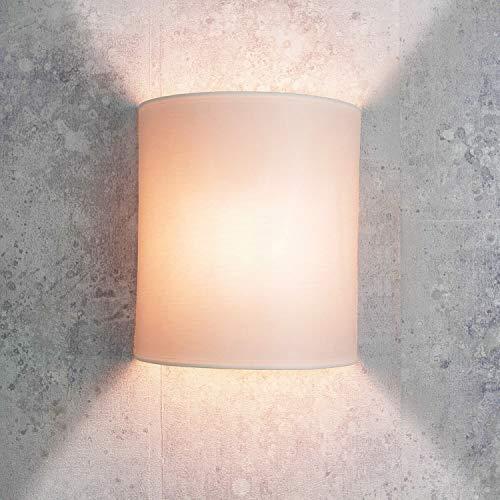 Schlafzimmer Loft (Wandleuchte Loft/im modern Stil/weiß/Stoffschirm / 1x E27 bis max. 60W 230V / Wandlampe innen kompakt/Beleuchtung Wohnzimmer Schlafzimmer)