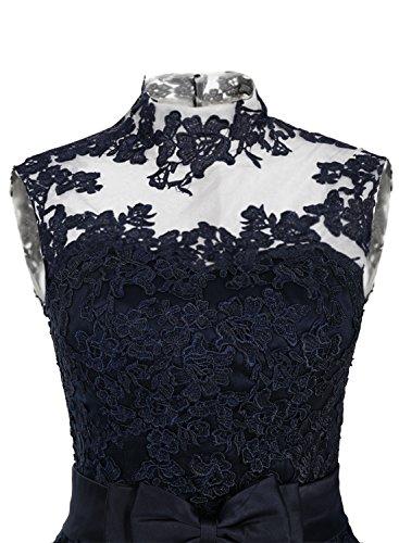Find Dress Rétro Vintage 40s 50s 60s Femme Elégant Robe de Soirée/Cérémonie/Cocktail Mariage Courte en Tulle avec Broderie Noir