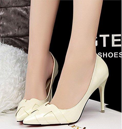 Minetom Donna Scarpe col Tacco Classiche Chiuse Davanti Scarpa Elegante High Heels Lavoro Scarpe Bianco