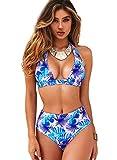 JFan Costume da Bagno Donna a Vita Alta in Due Pezzi Stampa Floreale Bikini Halter Regolabile Costume da Bagno (Viola, S)
