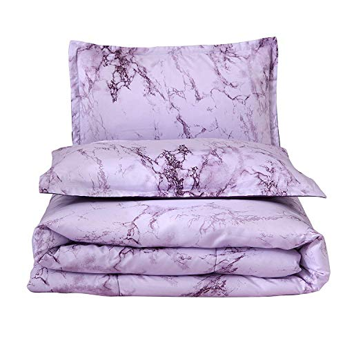 A Nice Night Paisley Schwarz Blume Tröster Set Bed-in-a-Bag, Queen Art Deco Queen Purple-Marble -