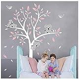 Sayala Stickers Muraux Koala Arbre Enfant- Autocollant Adhésif Mural Koala Branches Stickers Pour Chambre Enfants Bébé Art,2 * 1.8m (Rose)