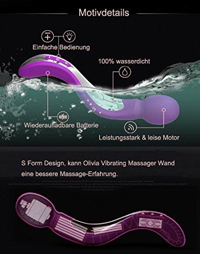 Olivia Einzigartige S Form Design Vibrator Wand Massager mit 7 Vibrationsmodi, Wand Massagegerät Vibratoren für sie Klitoris und G-punkt mit stoßfunktion groß xxl, sexspielzeug für frauen und paare ,100% Wasserdicht, Akkubetrieb, leise - 6