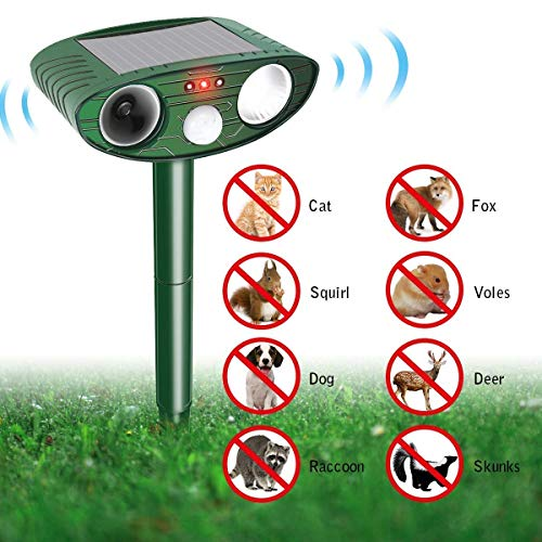 Repelente ultrasonico de plagas animales, ahuyentador Solar Powered perro gato animal disuasión scarer exterior impermeable con LED de luz de Flash proteger tu patio Lawn Garden