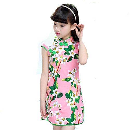 Byjia Kinder Cheongsam Mädchen Kleider Prinzessin Rock National Tanz Kostüme Klassische Bühne Aufführungen Chor Gruppe Team 4# 100Cm