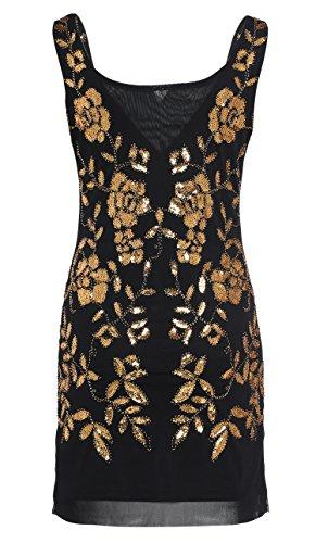 Babeyond Damen 1920s Stil Mini Kleider voller Pailletten Offener Ausschnitt Inspiriert von Great Gatsby Kostüm Kleid Gold oder S Abbildung 2