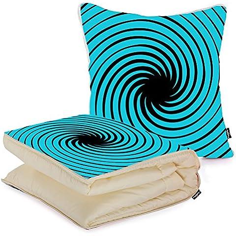 i FaMuRay Cuscino e Coperta da Viaggio, Blue Black Swirls